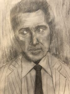 Graphite drawing of Christoper Walken